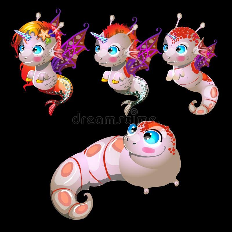 Μονόκεροι ψαριών, αρσενικοί και θηλυκοί χαρακτήρες ελεύθερη απεικόνιση δικαιώματος