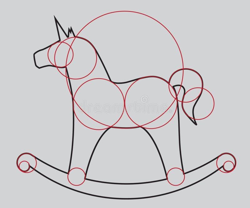 μονόκερος η ταλάντευση, σχεδιάζει ένα άλογο αναδρομικό ύφος στοκ εικόνες