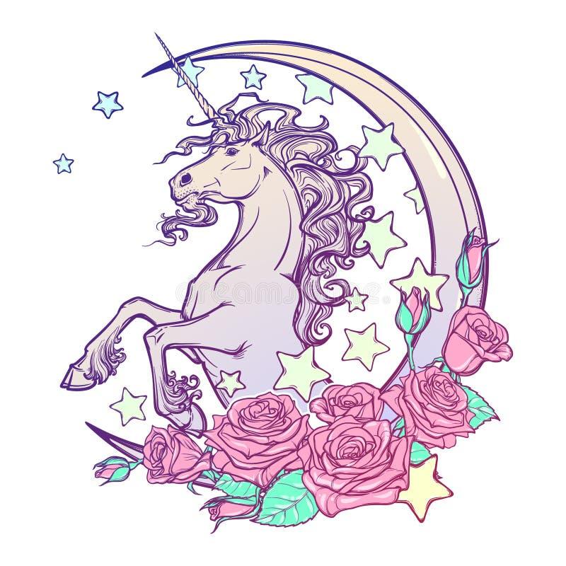 Μονόκερος κρητιδογραφιών goth με την ημισεληνοειδή ευχετήρια κάρτα αστεριών και τριαντάφυλλων ελεύθερη απεικόνιση δικαιώματος