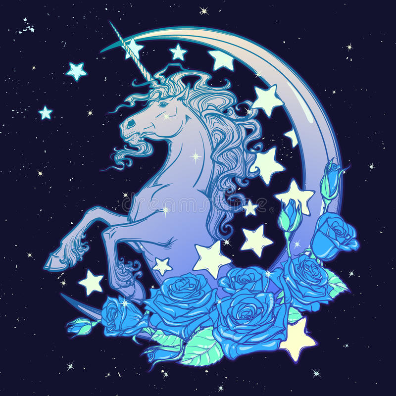 Μονόκερος κρητιδογραφιών goth με την ημισεληνοειδή ευχετήρια κάρτα αστεριών και τριαντάφυλλων απεικόνιση αποθεμάτων