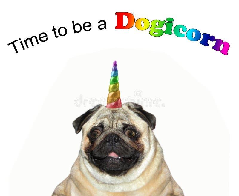 Μονόκερος σκυλιών με μια επιγραφή 2 στοκ φωτογραφία με δικαίωμα ελεύθερης χρήσης