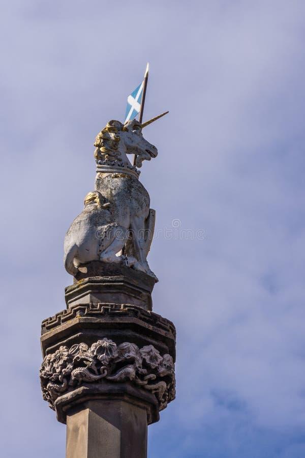 Μονόκερος στο διαγώνιο, βασιλικό μίλι mercat, Εδιμβούργο, Σκωτία, UK στοκ εικόνες