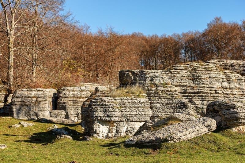 Μονόλιθοι ασβεστόλιθων - σχηματισμοί Lessinia Ιταλία διάβρωσης καρστ στοκ φωτογραφίες με δικαίωμα ελεύθερης χρήσης