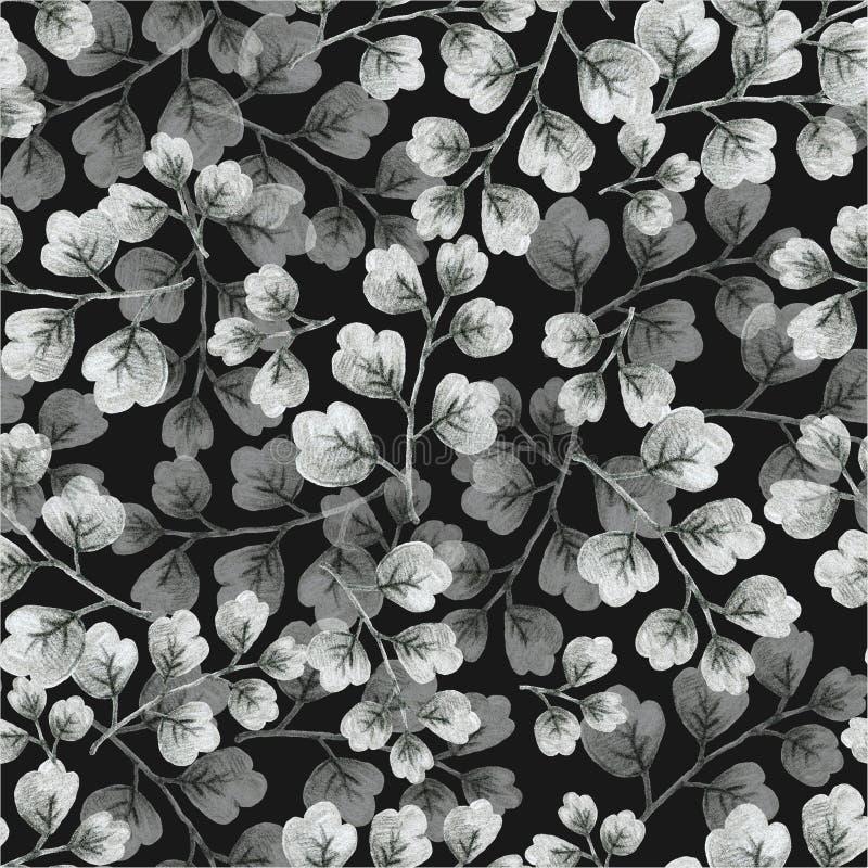 Μονόχρωμα γκρι φυτά, φύλλα και λουλούδια, σχεδίαση με εικόνα μολυβιού, άψογο μοτίβο απεικόνιση αποθεμάτων