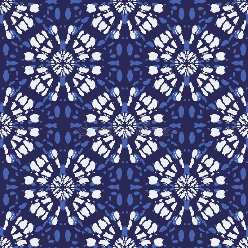 Μονόχρωμο Indigo Blue Tie-Dye Shibori Mirrored Sunburst Mandala Background Vector Seamless Pattern απεικόνιση αποθεμάτων