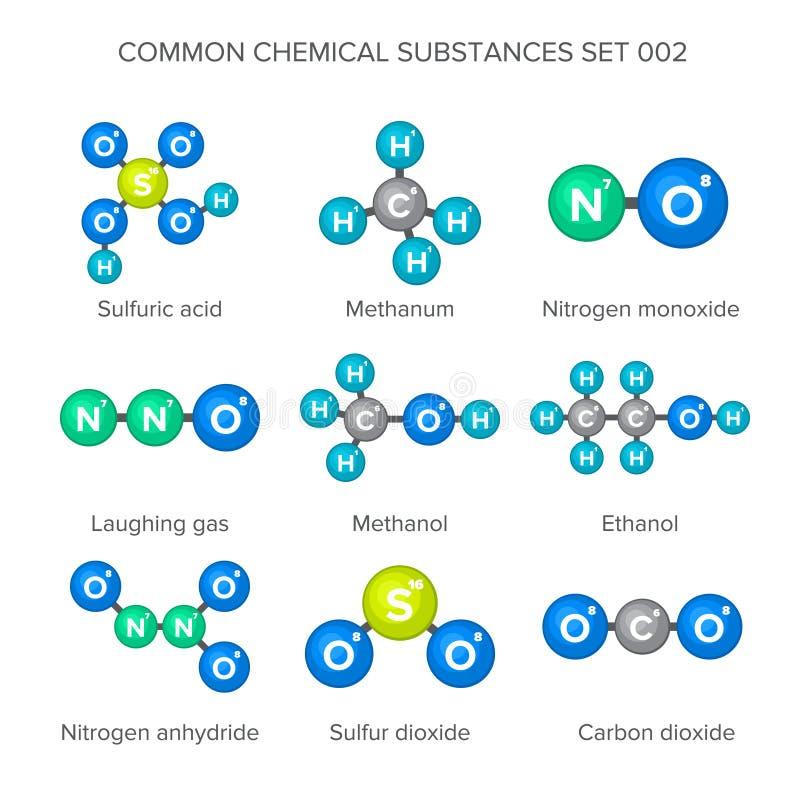 Μοριακές δομές των κοινών χημικών ουσιών απεικόνιση αποθεμάτων