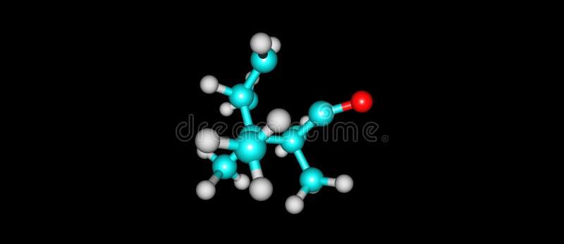 Μοριακή δομή καμφοράς που απομονώνεται στο μαύρο υπόβαθρο απεικόνιση αποθεμάτων