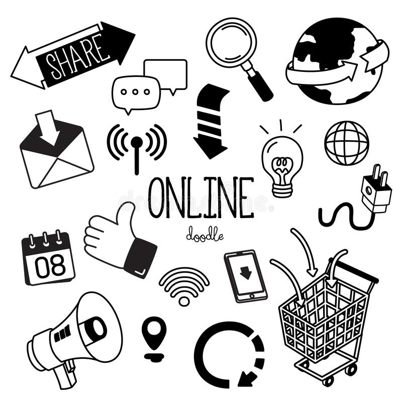 Μορφές σχεδίων χεριών με το σε απευθείας σύνδεση εικονίδιο Σε απευθείας σύνδεση κοινωνικά μέσα doodles απεικόνιση αποθεμάτων