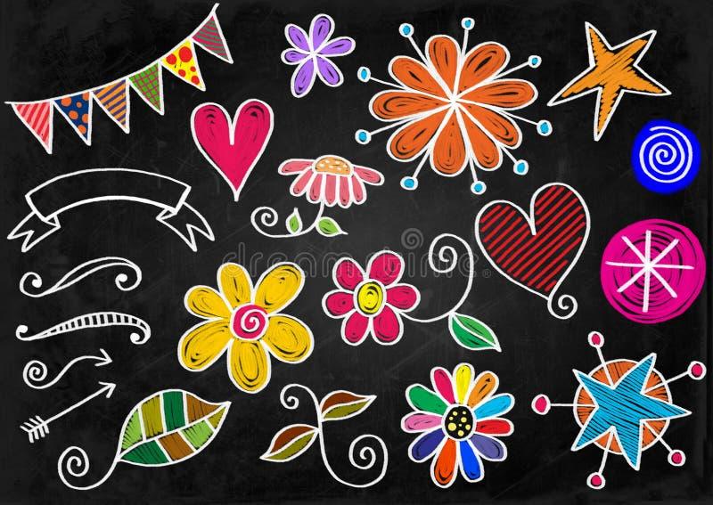 Μορφές Doodle πινάκων κιμωλίας απεικόνιση αποθεμάτων