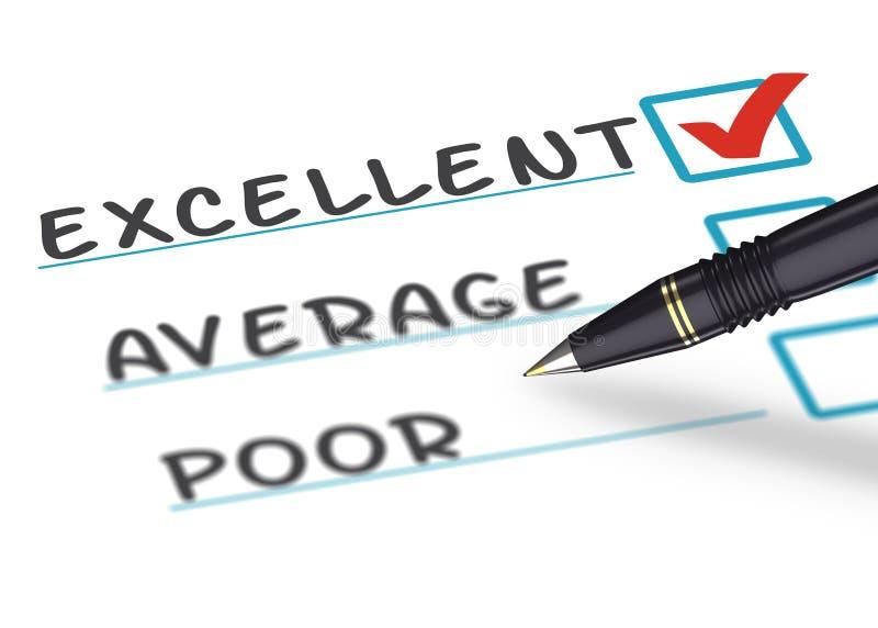 Μορφή έννοιας ερευνών ικανοποίησης πελατών με μια μάνδρα απεικόνιση αποθεμάτων