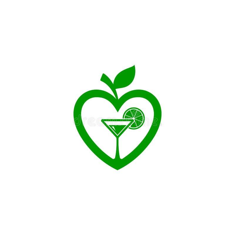 Μορφή αγάπης των φρούτων μήλων, φρέσκο λογότυπο χυμού διανυσματική απεικόνιση
