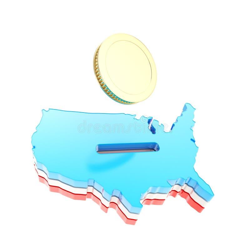 Μορφή ΑΜΕΡΙΚΑΝΙΚΩΝ χωρών ως moneybox με ένα χρυσό νόμισμα απεικόνιση αποθεμάτων