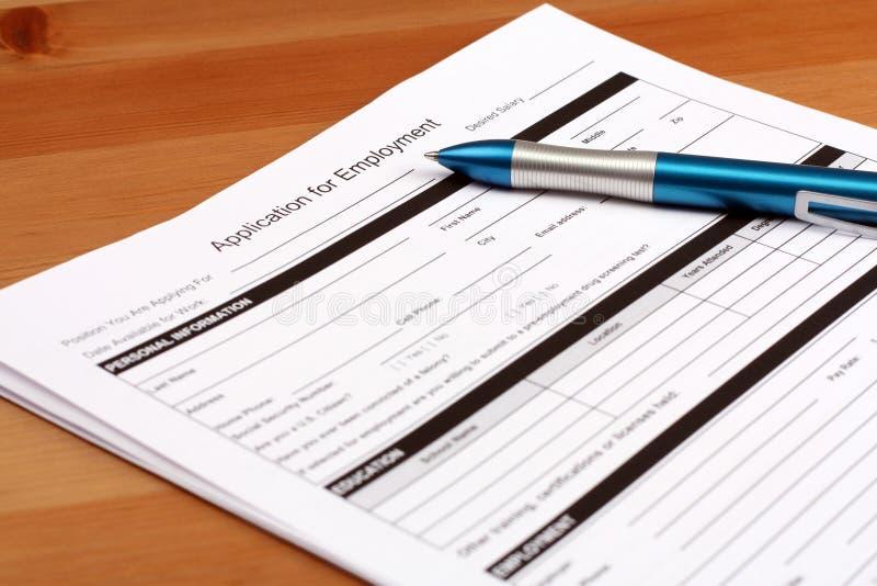 μορφή απασχόλησης αίτησης στοκ εικόνα