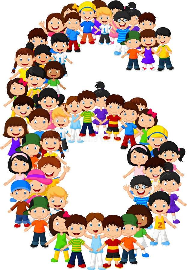 Μορφή αριθμός έξι παιδάκι διανυσματική απεικόνιση