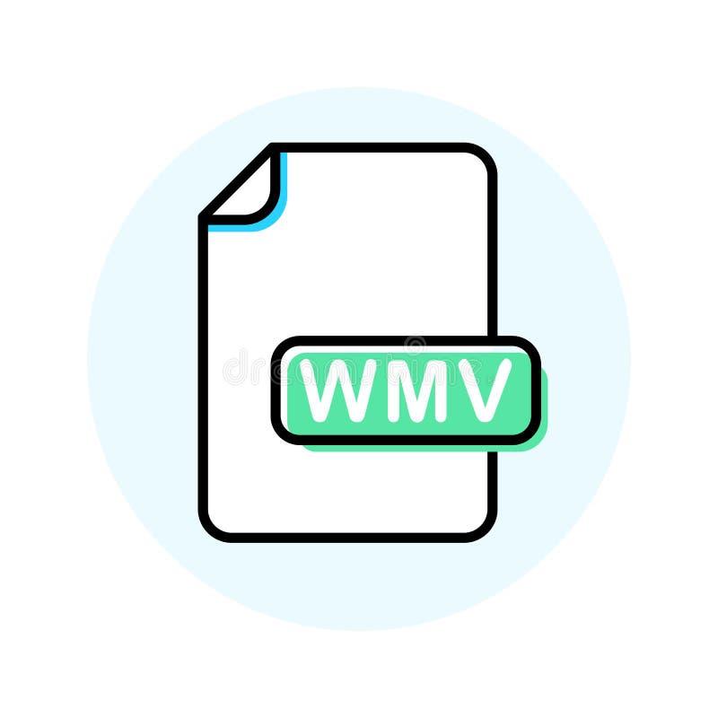 Μορφή αρχείου WMV, εικονίδιο γραμμών χρώματος επέκτασης διανυσματική απεικόνιση