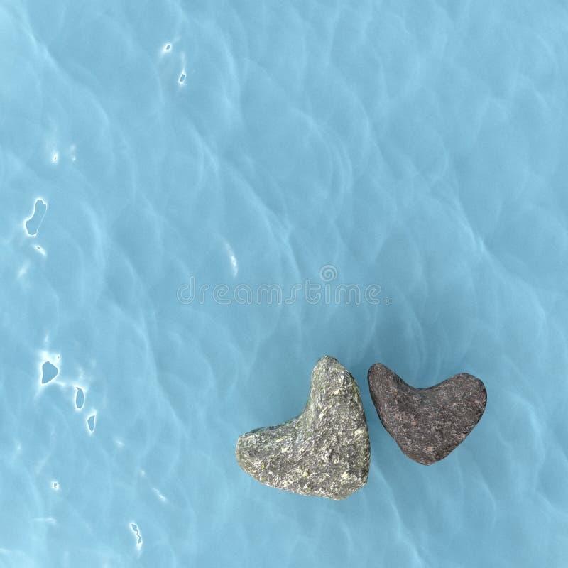Μορφή καρδιών βράχου στη θάλασσα, τρισδιάστατη απόδοση ελεύθερη απεικόνιση δικαιώματος
