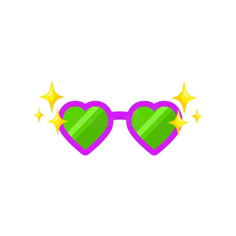 Μορφή καρδιών γυαλιών για το photobooth, σχέδιο στηριγμάτων φωτογραφιών Γυαλιά κινούμενων σχεδίων για το selfie apps Το διάνυσμα  διανυσματική απεικόνιση