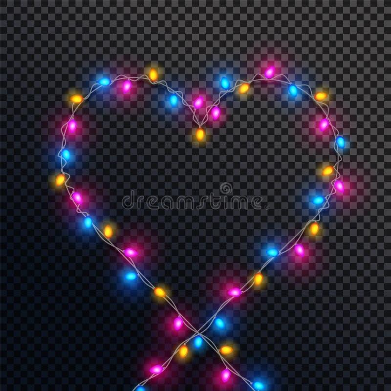 Μορφή καρδιών που γίνεται από τα ζωηρόχρωμα φω'τα διανυσματική απεικόνιση
