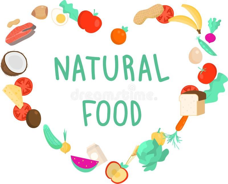 Μορφή καρδιών των φυσικών τροφίμων, φρέσκα φρούτα και λαχανικά διανυσματική απεικόνιση