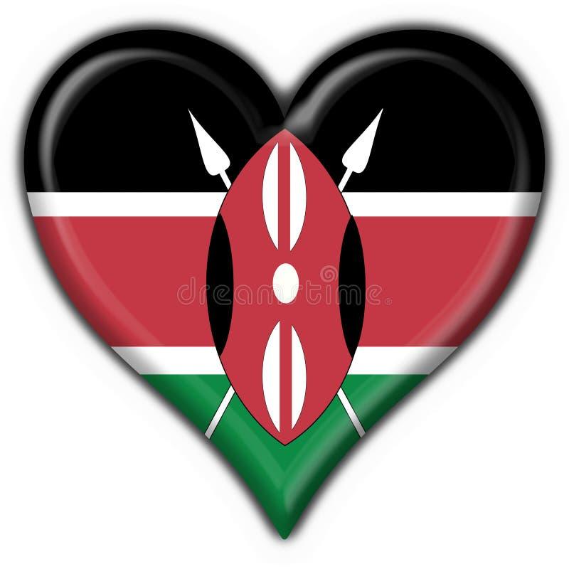 μορφή της Κένυας καρδιών σημαιών κουμπιών ελεύθερη απεικόνιση δικαιώματος