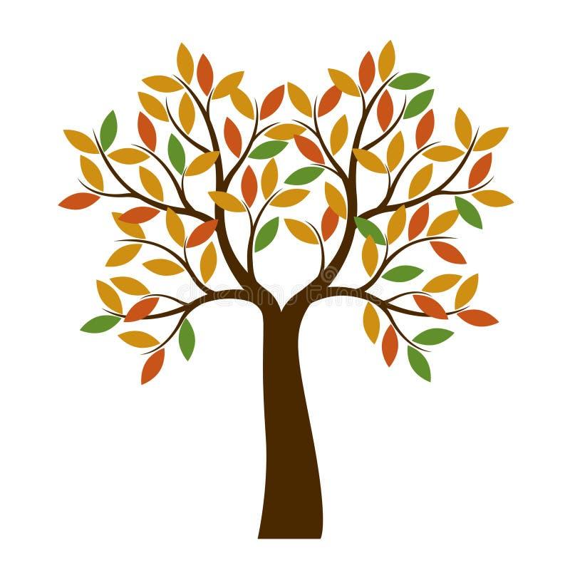Μορφή του δέντρου φθινοπώρου με τα φύλλα χρώματος επίσης corel σύρετε το διάνυσμα απεικόνισης διανυσματική απεικόνιση