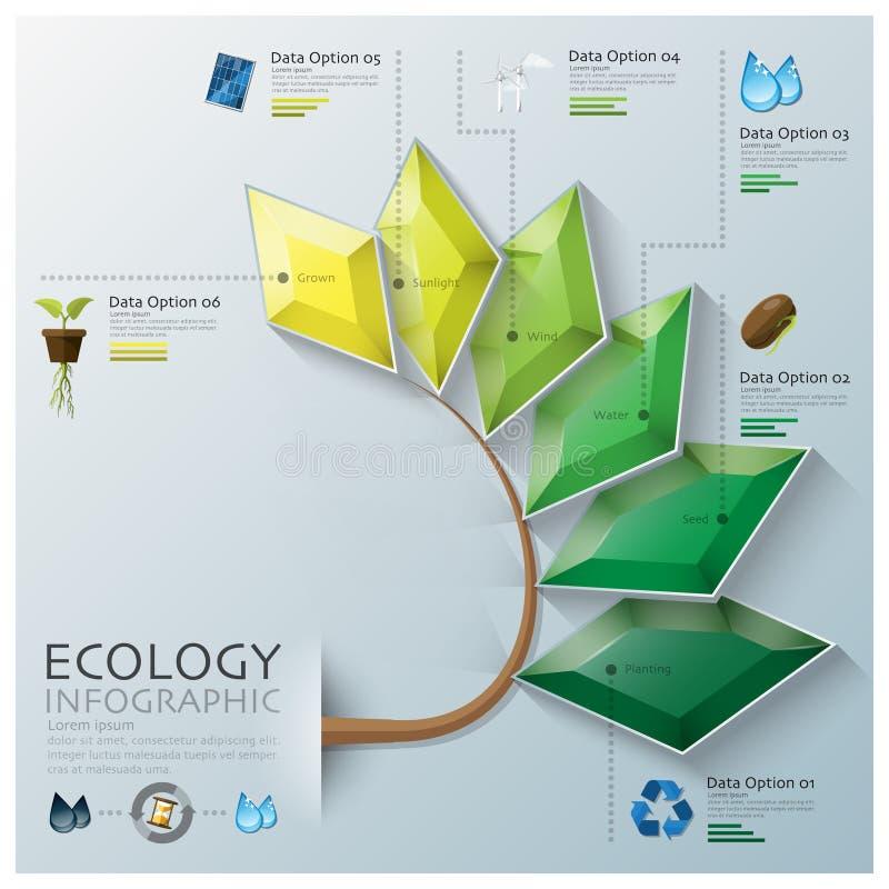 Μορφή τρία φύλλων οικολογία και περιβάλλον Infog πολυγώνων διάστασης διανυσματική απεικόνιση