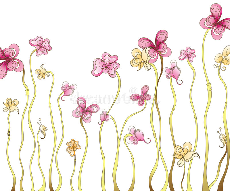 μορφή florals πεταλούδων διανυσματική απεικόνιση