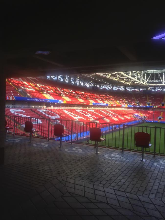 ΜΟΣΧΑ, ΡΩΣΙΑΣ - 13 ΙΟΥΝΙΟΥ, 2018: Χώρος Otkritie, στάδιο λεσχών ποδοσφαίρου Spartak που περιλαμβάνεται στη Ρωσία ` s που προσφέρε στοκ φωτογραφία με δικαίωμα ελεύθερης χρήσης