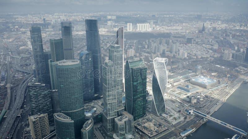 ΜΟΣΧΑ, ΡΩΣΙΑ - 23 ΜΑΡΤΊΟΥ 2019 Εναέρια άποψη των ουρανοξυστών του διεθνούς εμπορικού κέντρου MIBC της Μόσχας στοκ φωτογραφία με δικαίωμα ελεύθερης χρήσης