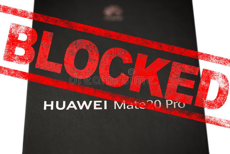 ΜΟΣΧΑ, ΡΩΣΙΚΉ ΟΜΟΣΠΟΝΔΊΑ - 24 Μαΐου 2019: Αφότου προσθέτει η διοίκηση ατού Huawei σε μια εμπορική μαύρη λίστα, Google έχει αναστε στοκ εικόνα με δικαίωμα ελεύθερης χρήσης