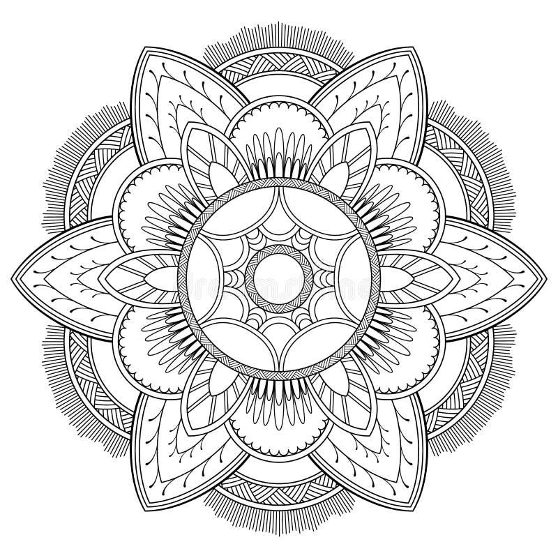 Μοτίβα Mandala λουλουδιών διακοσμητικός τρύγος στ&o Ασιατικό σχέδιο, διανυσματική απεικόνιση Χρωματίζοντας σελίδα βιβλίων απεικόνιση αποθεμάτων