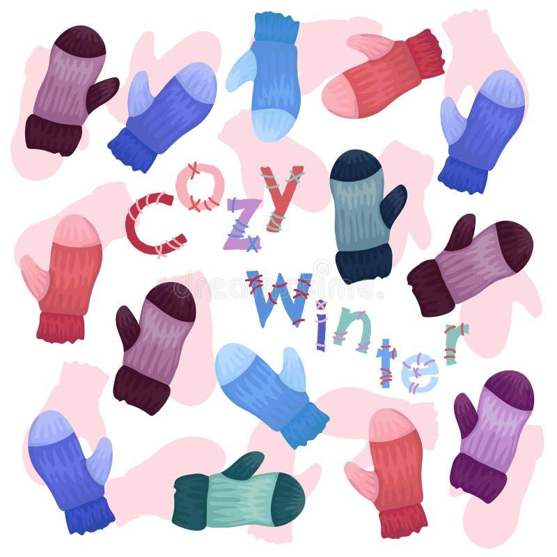 Μοτίβο από πολύχρωμα γάντια Χειμερινή άνετη απεικόνιση Το διανυσματικό σχέδιο με επιγραφή Άνετος χειμώνας ελεύθερη απεικόνιση δικαιώματος