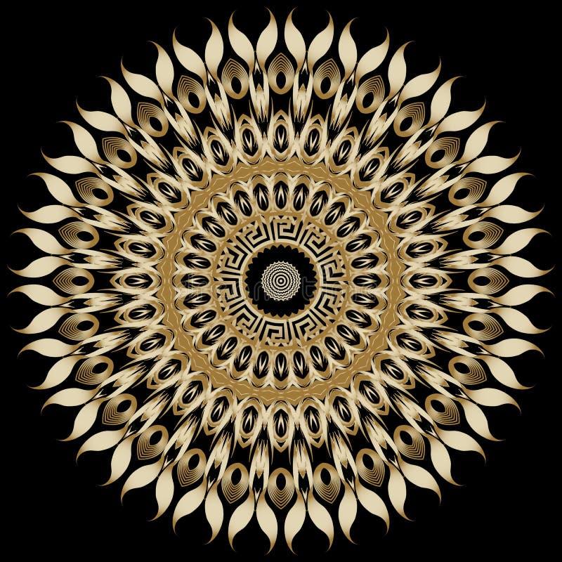 Μοτίβο με μαντάλα ηλιοτρόπιου Αφηρημένο φόντο διανύσματος φλώρου Διακοσμητικό μοντέρνο στρογγυλό ελληνικό στολίδι Συγκομιδή ελεύθερη απεικόνιση δικαιώματος