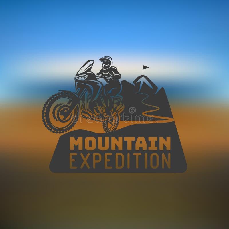 Μοτοκρός φυλών μονοχρωματική απεικόνιση λογότυπων οδηγών μοτοσικλετών enduro ακραία ελεύθερη απεικόνιση δικαιώματος