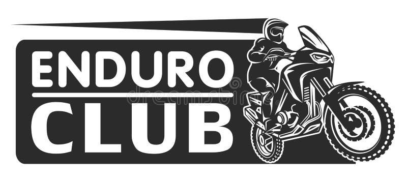 Μοτοκρός φυλών μονοχρωματική απεικόνιση λογότυπων οδηγών μοτοσικλετών enduro ακραία απεικόνιση αποθεμάτων