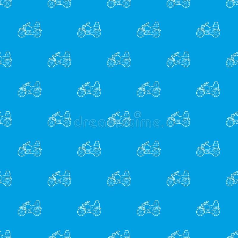 Μοτοσικλέτα με το διανυσματικό άνευ ραφής μπλε σχεδίων κιβωτίων απεικόνιση αποθεμάτων
