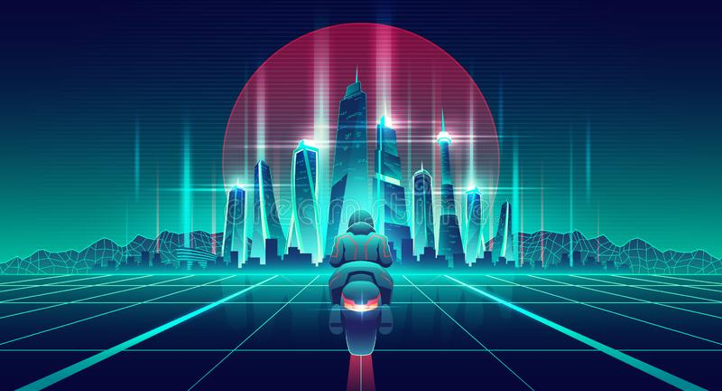 Μοτοσικλέτα που συναγωνίζεται στο εικονικό διάνυσμα παγκόσμιων κινούμενων σχεδίων διανυσματική απεικόνιση