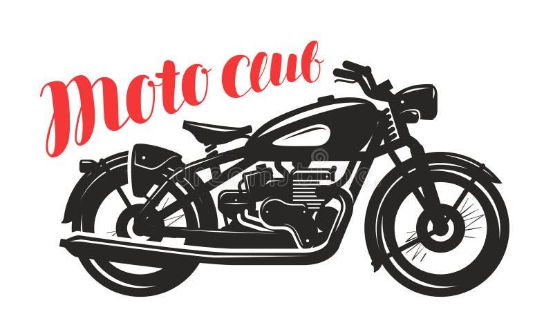 Μοτοσικλέτα, σκιαγραφία μοτοσικλετών Λογότυπο ή ετικέτα λεσχών Moto επίσης corel σύρετε το διάνυσμα απεικόνισης ελεύθερη απεικόνιση δικαιώματος