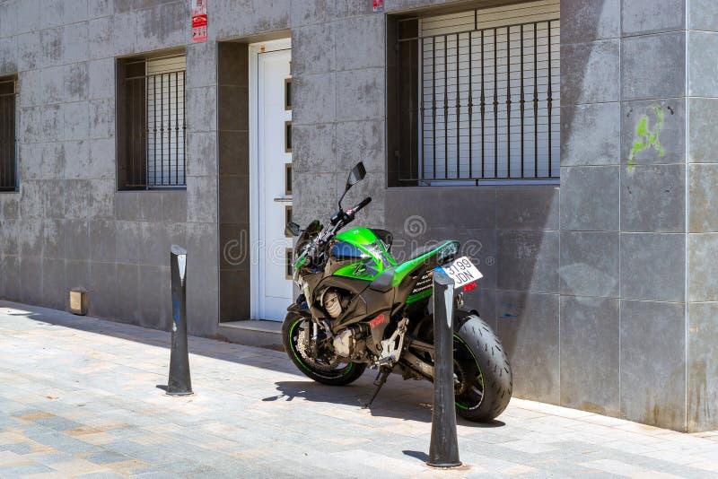 Μοτοσικλέτα Kawasaki αθλητικού μοτοκρός Ισπανία, Blanes στοκ εικόνα με δικαίωμα ελεύθερης χρήσης