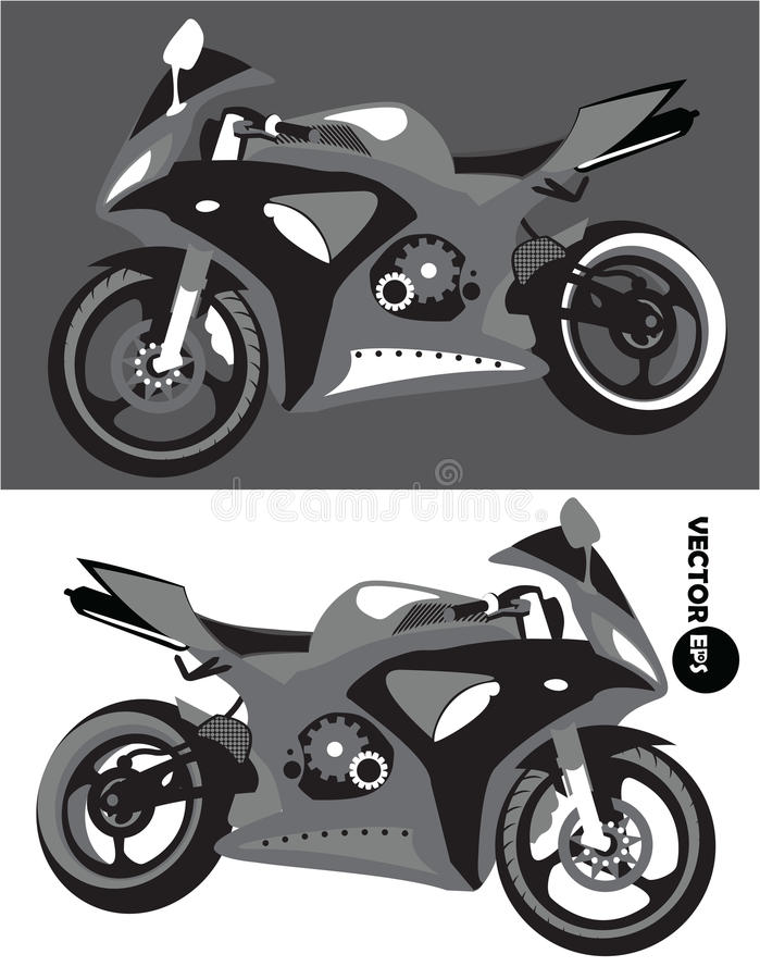 Μοτοσικλέτα, εξάρτηση αθλητικών σωμάτων, μονοχρωματικό διάνυσμα που απομονώνεται στο γραπτό υπόβαθρο μοτοσικλέτα Sportbike Μεταφο απεικόνιση αποθεμάτων