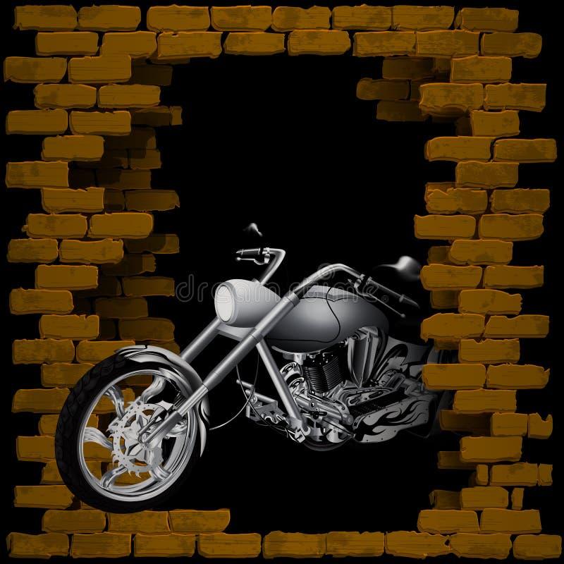 Μοτοσικλέτα, μπαλτάς στο σπάσιμο του τουβλότοιχος διανυσματική απεικόνιση