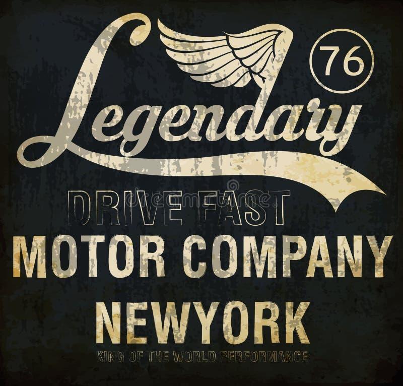 Μοτοσικλέτα που συναγωνίζεται τη θρυλική τυπογραφία, γραφική παράσταση μπλουζών, διάνυσμα απεικόνιση αποθεμάτων