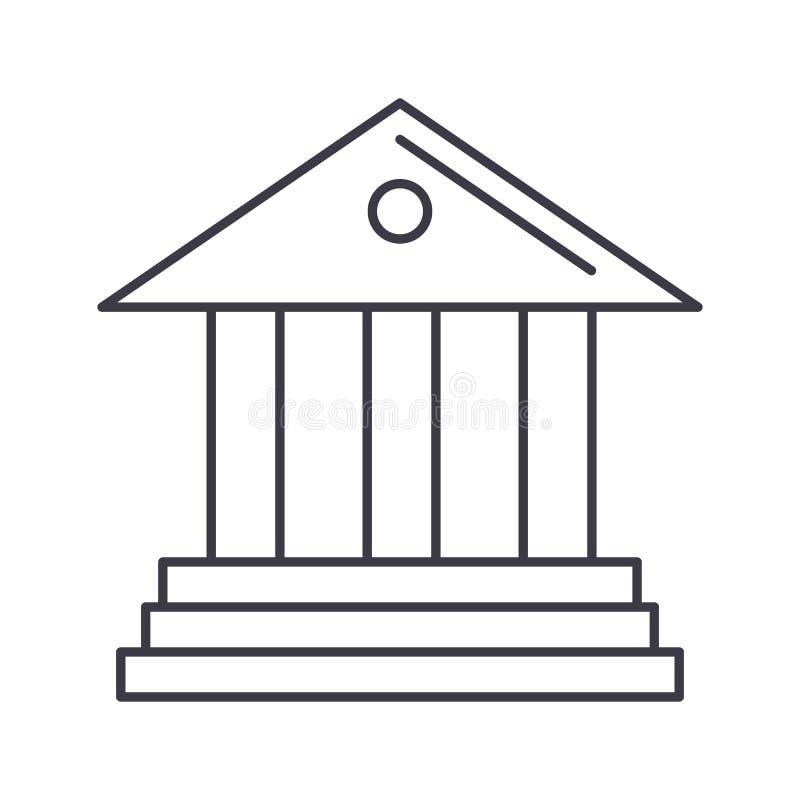 Μουσείο, διανυσματικό εικονίδιο γραμμών τραπεζών, σημάδι, απεικόνιση στο υπόβαθρο, editable κτυπήματα διανυσματική απεικόνιση