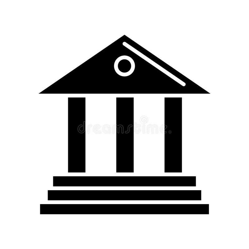 Μουσείο - εικονίδιο τραπεζών, διανυσματική απεικόνιση, μαύρο σημάδι στο απομονωμένο υπόβαθρο διανυσματική απεικόνιση