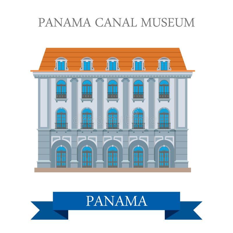 Μουσείο καναλιών του Παναμά στα διανυσματικά επίπεδα ορόσημα έλξης του Παναμά απεικόνιση αποθεμάτων