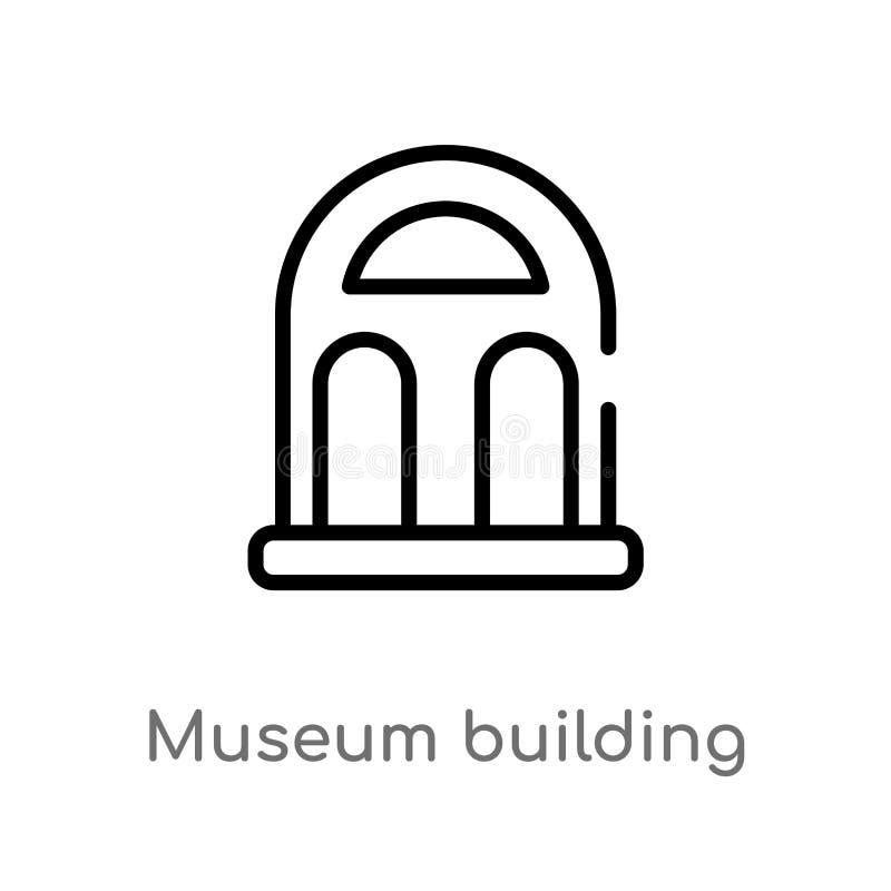 μουσείο περιλήψεων που χτίζει το διανυσματικό εικονίδιο απομονωμένη μαύρη απλή απεικόνιση στοιχείων γραμμών από την έννοια μουσεί απεικόνιση αποθεμάτων