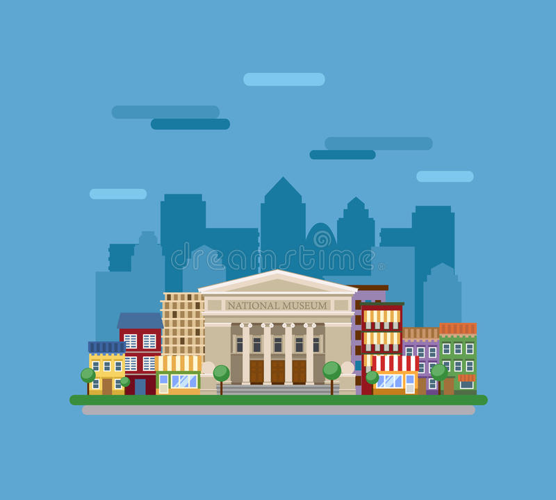 Μουσείο στην πόλη ελεύθερη απεικόνιση δικαιώματος