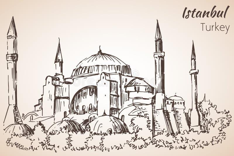 Μουσείο της Ιστανμπούλ Hadia Sophia - Ayasofya Τουρκία σκίτσο απεικόνιση αποθεμάτων