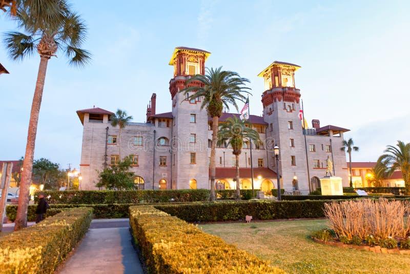 Μουσείο Lightner στο ST Augustine, άποψη ηλιοβασιλέματος στοκ εικόνα