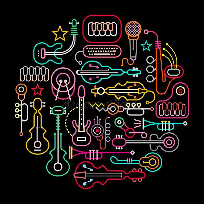 Μουσικά όργανα γύρω από την απεικόνιση διανυσματική απεικόνιση